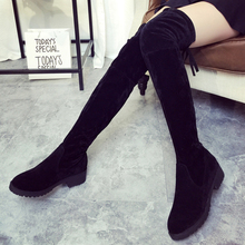 Womens Slim Suede Thigh High Boots Sexy Fashion Woman High Boots Shoes Over the Knee Boots Women's Knee High Flat Boots S20