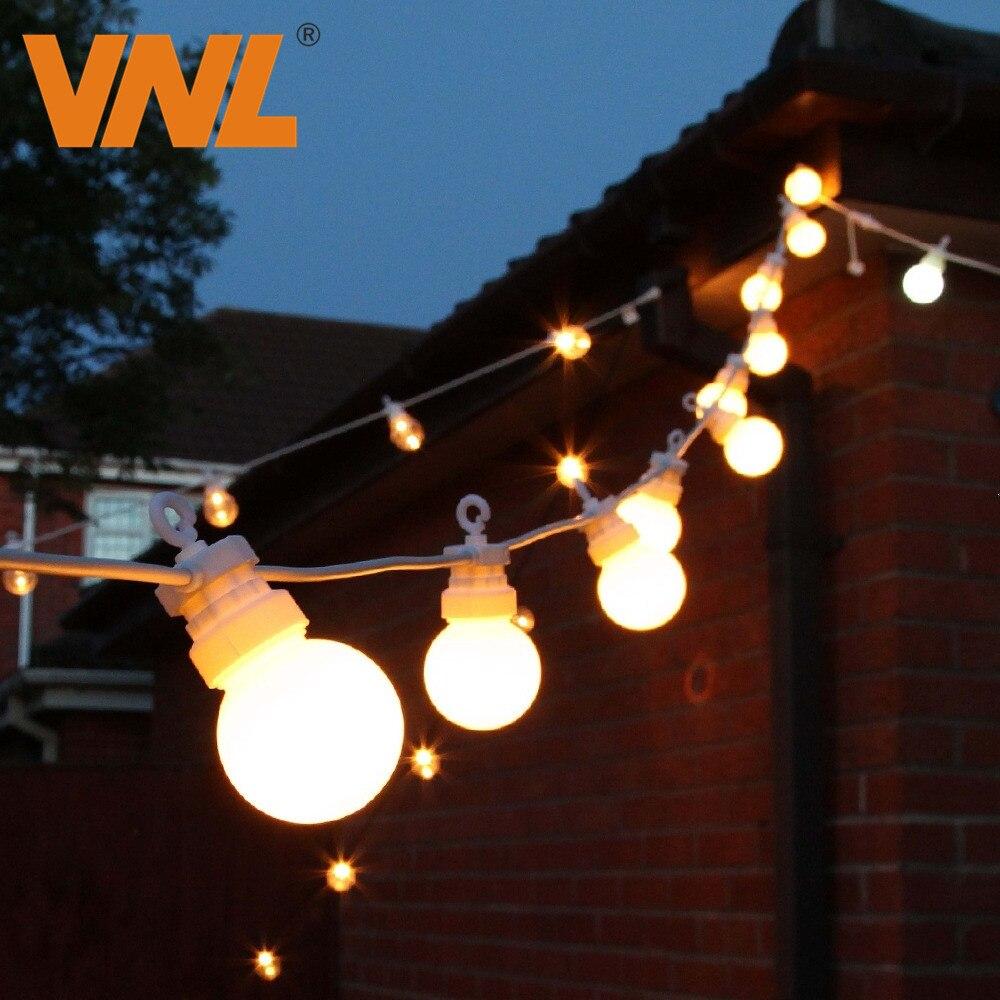 VNL IP65 G50 White Cable Milky Ball String lights Indoor Outdoor Light String For Bar Wedding