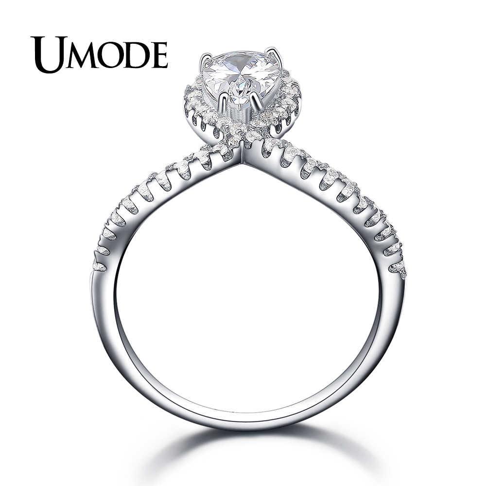 UMODE แฟชั่น 925 แหวนเงินสเตอร์ลิงสำหรับหมั้นแต่งงาน Pear CUT CZ เครื่องประดับของขวัญ PARTY Bague Femme Anillos ULR0341