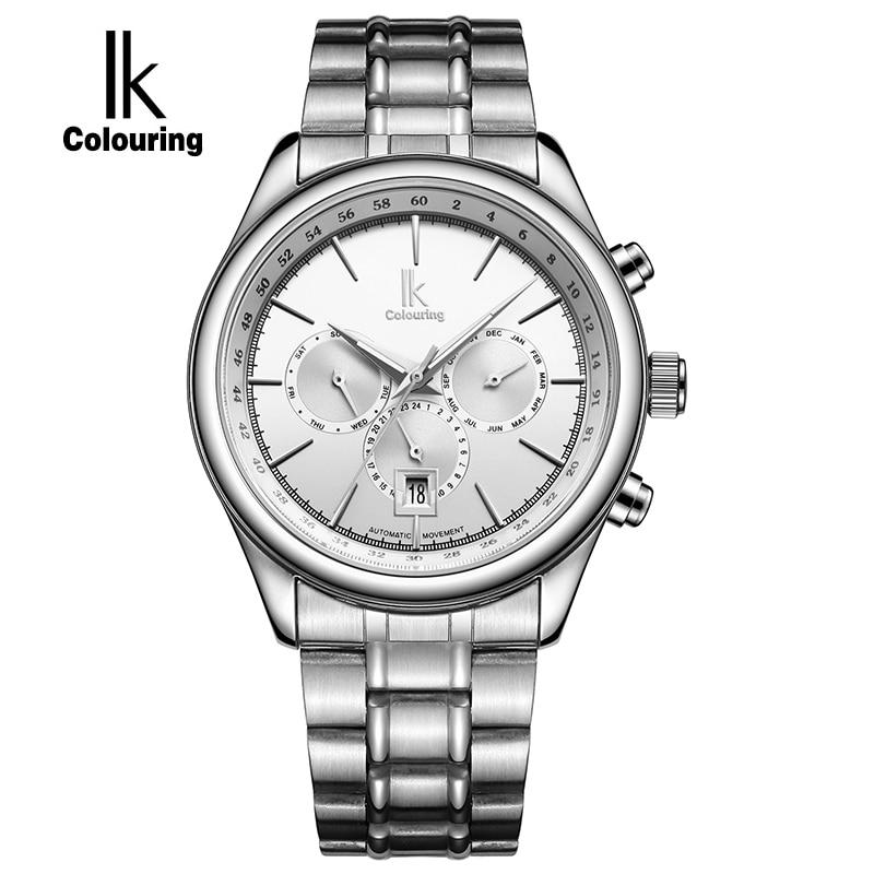 IK Brand Man Automatic Mechanical Watch Mens 24 Hours Calendar Luminous Silver Full Steel Watches Fashion Simple Casual relojes браслет цепь oem ah151 925 bjvakbca axmajota bracelet