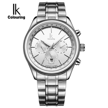 IK Brand Man Automatic Mechanical Watch Mens 24 Hours Calendar Luminous Silver Full Steel Watches Fashion Simple Casual relojes