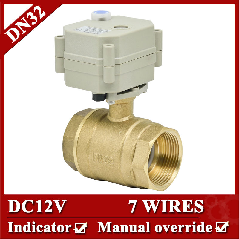 11/4 DC12V 7 wires electric water valve, DN32 Electric ball valve 2 way full bore with manual override for water tank 26 32 4 12 7