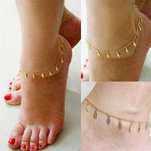 Sexy Fashion Jewelry Accessories Striped leaf filigree gold anklet adjustable multi-branch women's jewelry