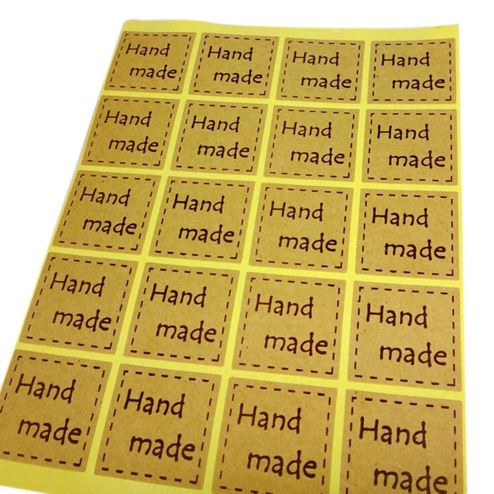 Pegatinas hechas a mano 20uds/lote 25*25mm pegatinas retro marca Kraft adhesivo DIY hecho a mano para regalo pastel hornear sellado adhesivo