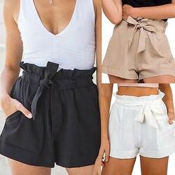 Женские летние шорты с высокой талией, пляжные шорты с бантом, новинка 2019