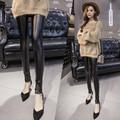 2017 new fashion design cool style lace leggings skinny stretch pants women triangular lace pu leather leggings