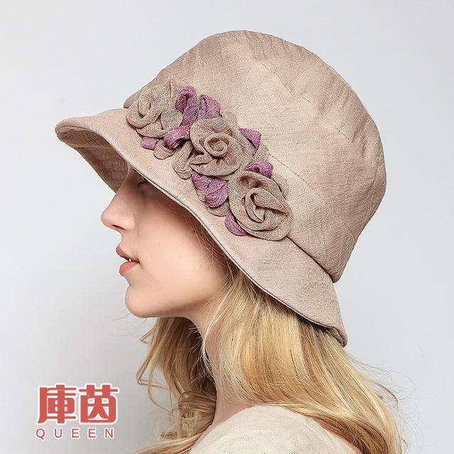2016 Nuevas Flores de Las Mujeres Elegantes de Algodón protector solar de ala ancha Verano Viseras sombreros cap plegable Beach Caps Bowknot B-2269