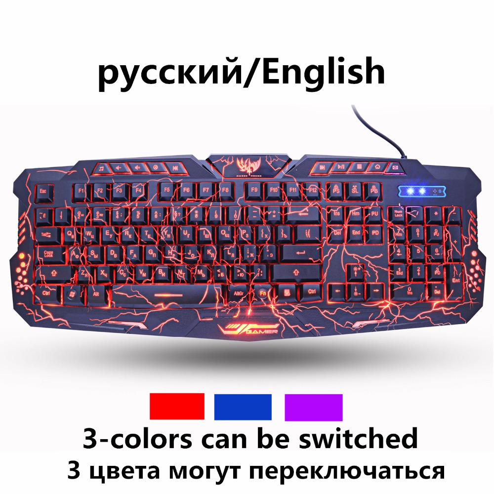 ZUOYA ruso inglés teclado de juego grieta 3 de respiración retroiluminada con cable USB impermeable colorido juego de teclado para PC portátil