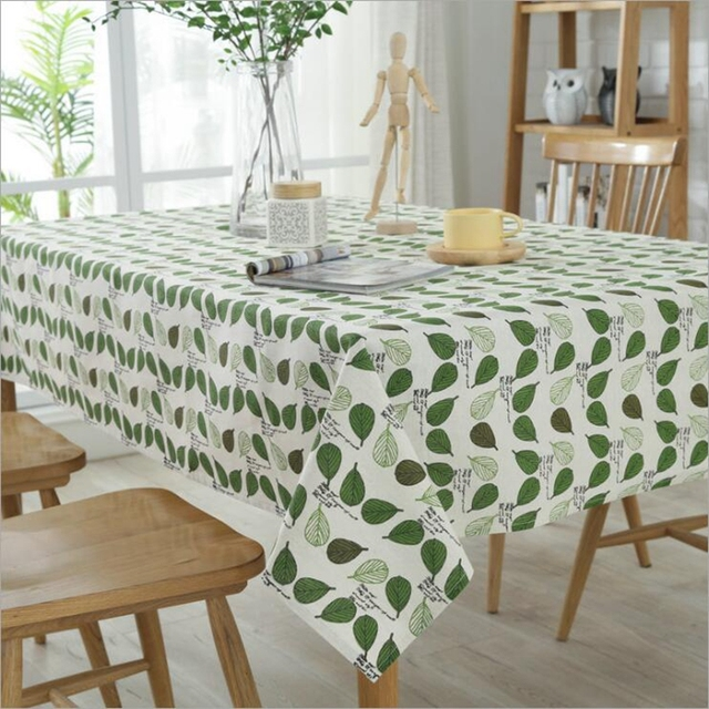 New Leaves Cotton And Linen Tablecloth Table Decor Microwave Oven - Conference table with leaves