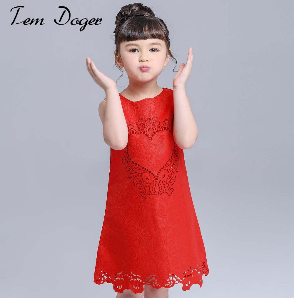 Baby Girls Dresses 2016 Brand New Girls Lace Dress with Loving Heart Pattern Girl Dress Kids Clothes Princess Children Dress