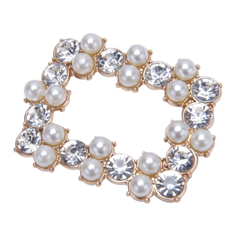 2 Pcs/Set Shoe Clip DIY Women Lady Shoes High Heel Sandals Decoration Luxury Rhinestone Pearl Simulation Charms Jewelry Square H