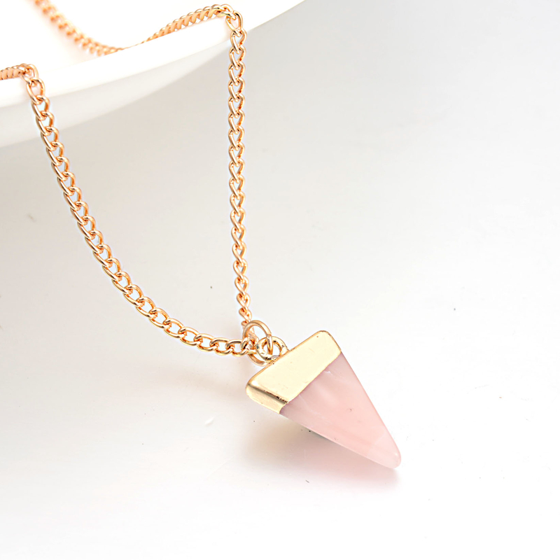 2017 New Summer Style Women Jewelry Cute Pink Triangle Faux Stone