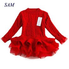 Thick Warm Girl Dress 2018 Christmas Wedding Party Dress Knitted Chiffon Winter Kids Girls Clothes Children CLothing Girl Dress