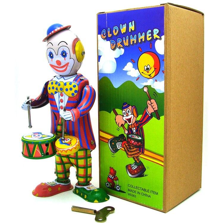 Childhood Memory Antique Scene  Tin Toys Children Wind Up Iron  Robot Figure Retro Zakka  Home Decor Clown Play Drum
