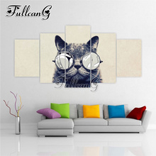 FULLCANG multi-picture diy 5pcs diamond painting black and white cat full drill cross stitch mosaic 3d embroidery hobby G1166