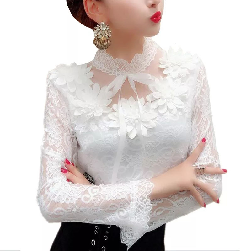 Elegant Womens 3D Flower Blouses Pure Lace Shirt Female Long Sleeve Sexy Hollow Out Tops Autumn Fashion Clothes New DF2379