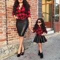 Roupas da moda Meninas Jogo da Camisa Xadrez Vermelha + Saia Preta para Crianças Meninas Primavera Conjunto de Roupas 2-6y Roupas Terno Do Bebê crianças