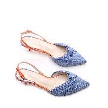 women high-heeled sandals pointed color matching Baotou thin-heeled sandals female European American shallow buckle Yasilaiya heeled sandals las lolas heeled sandals