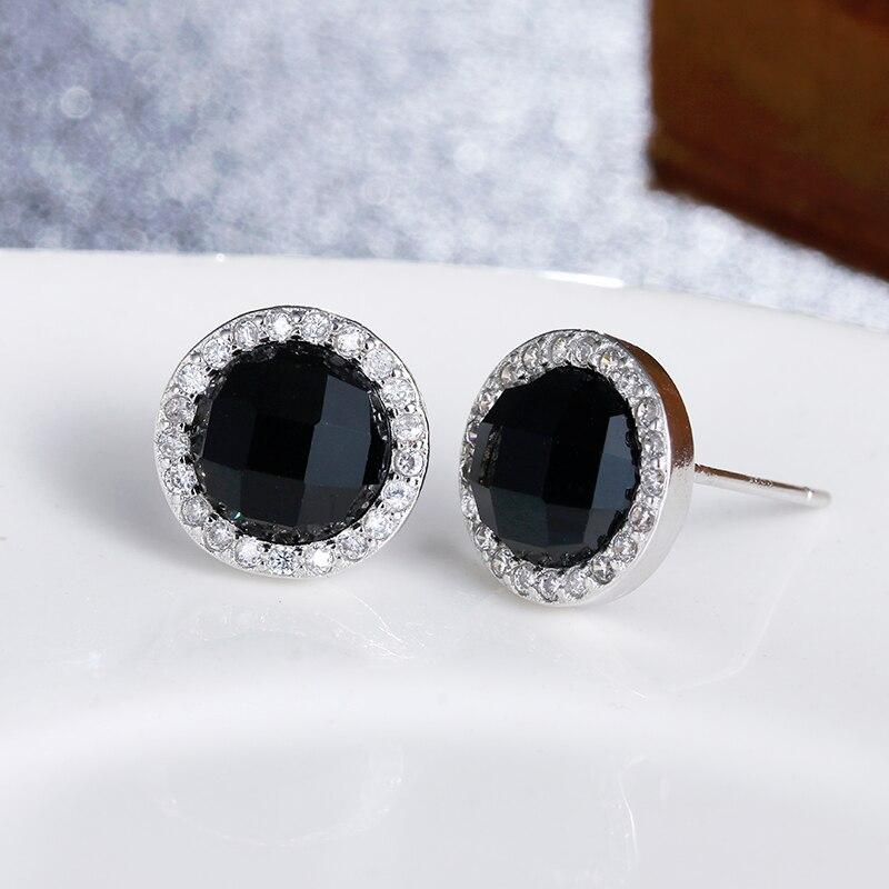 100% 925 šterlinků módní černá křišťálová dárek k narozeninám ženy šperky dámské náušnice nejlepší levné velkoobchodní žena