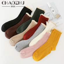 2018 Women Socks Autumn New Fashion Lace Bamboo Solid Color Cute Lady Long 1 Pair