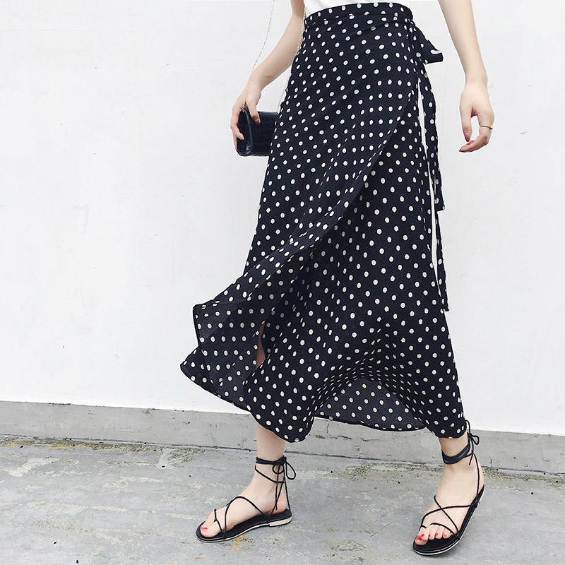 25 Colors 2019 Bohemian High Waist Floral Print Summer Skirts Womens Boho Asymmetrical Chiffon Skirt Maxi Long Skirts For Women(China)