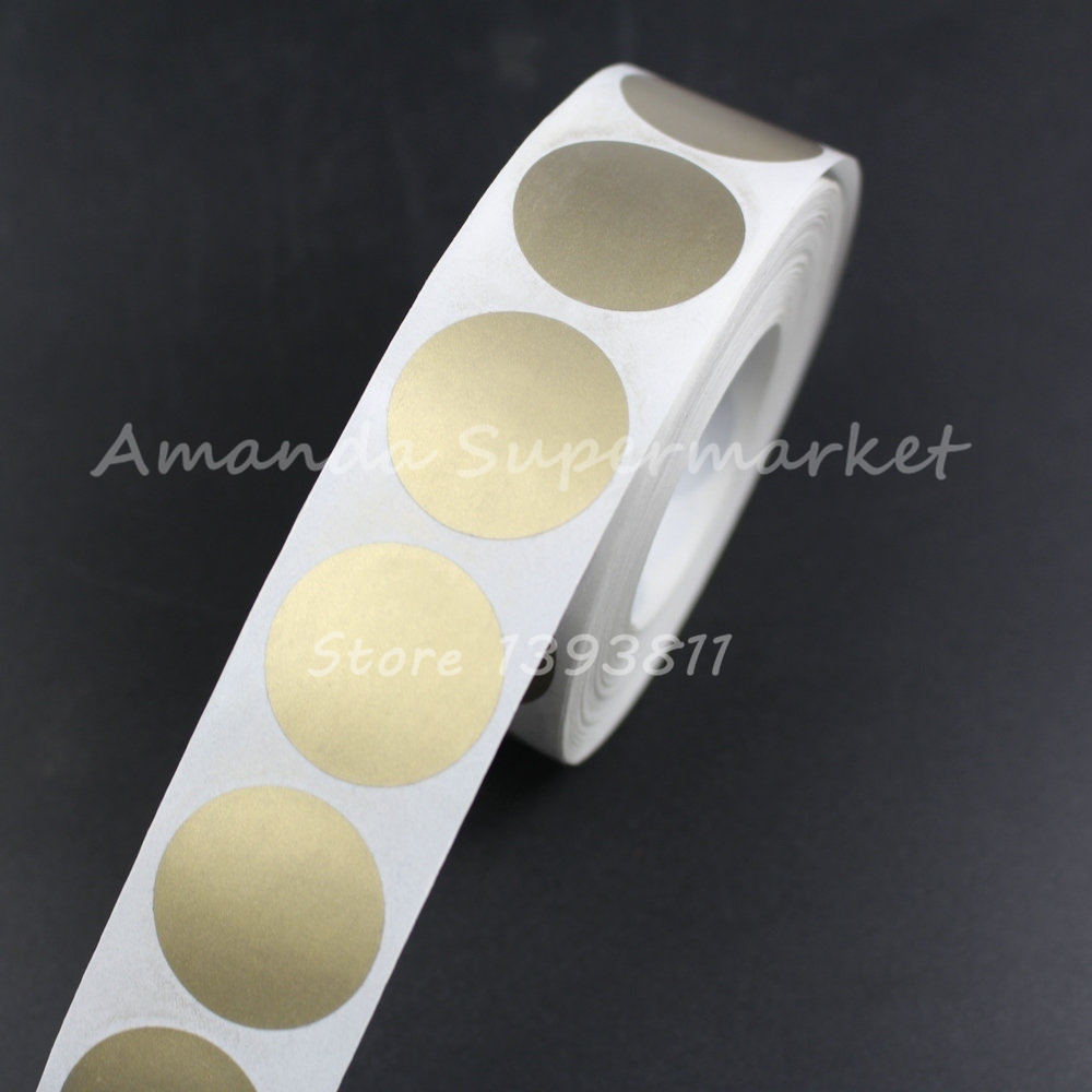 "High Quality Scratch Off Sticker 1000Pcs 25*25mm 1"" Round Gold Color Blank For Secret Code Cover Home Game Wedding-in Stationery Stickers from Office & School Supplies"