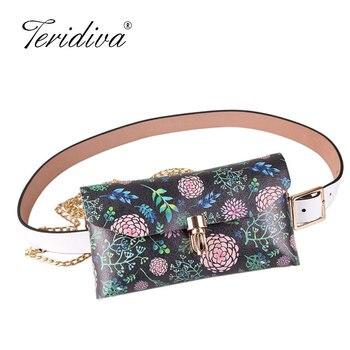 Fanny Pack Flower Print Women Waist Bag Fashion Belt Bag Clear Transparent Bag Mobile Purse Chest Bags Wallet Mini Bolsas