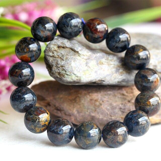 Natural Genuine Aaa Blue Pietersite Stretch Men S Finish Bracelet Round Beads 14mm 04115