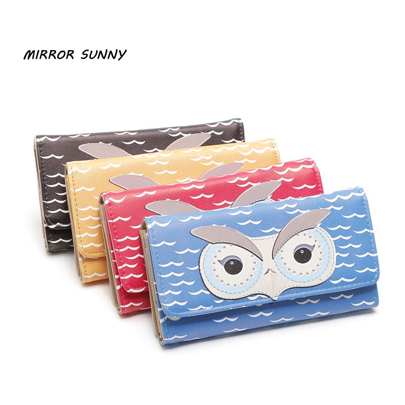 MIRROR SUNNY European and American hot style female owl long PU leather three-fold magnetic buckle purse female hand wallet ...