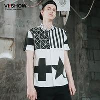 Viishow marca ropa hombres camisa hombre hip hop estrella imprimir manga corta América vestido casual camisa hombres ropa CD67962