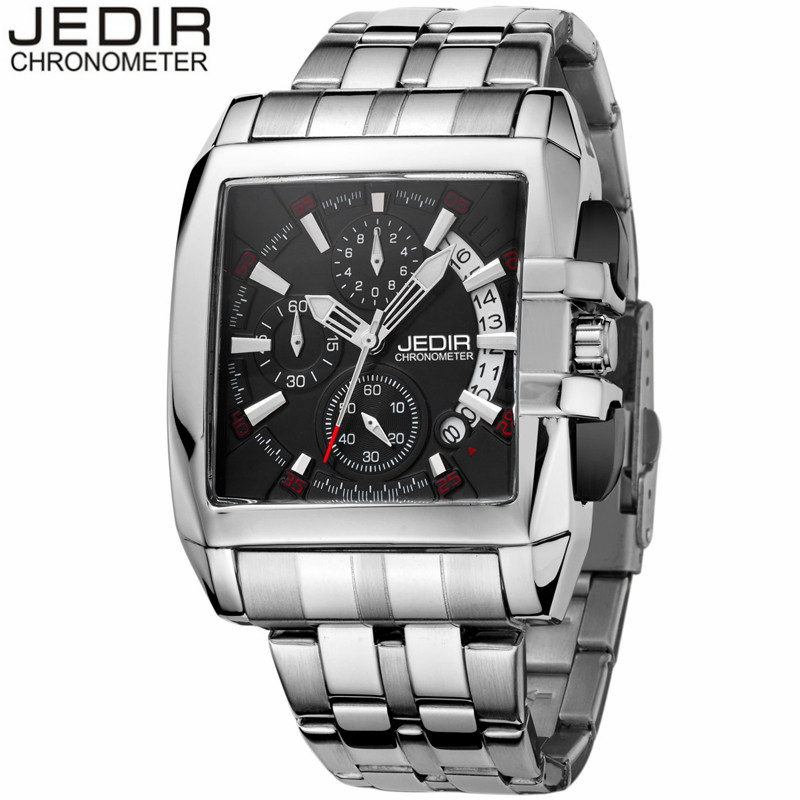 JEDIR CHRONOGRAPH Auto Date Mens Watches Top Brand Luxury Silver Stainless Steel Wristwatches Men Male Quartz Watch 2018 genuine jedir quartz male watches genuine leather watches racing men students game run chronograph watch male glow hands