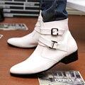 Estilo británico de Cuero Genuino Botas Masculinas Tendencia de La Moda Negro Blanco Pointy Martin Botas de Invierno Para Hombre Zapatos Casuales Botines 3A