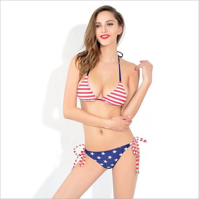 c8f57c9884c MSSNNG 2017 New Bikini Set Summer Sexy Women Stars And Stripes USA Flag  Bikini Padded Bandeau Swimsuit American Flag Swimwear