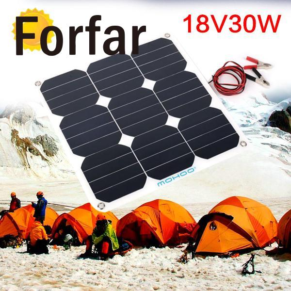 Portable Outdoor 18V 30W Portable Smart Solar Power Panel Car RV Boat Battery Bank Charger Universal W/Clip Outdoor tool camping