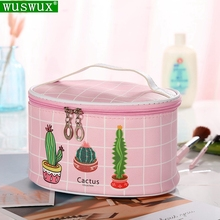 new fashion Cactus women make up bag Professional cosmetic cases casual travel Organizer wash makeup beauty