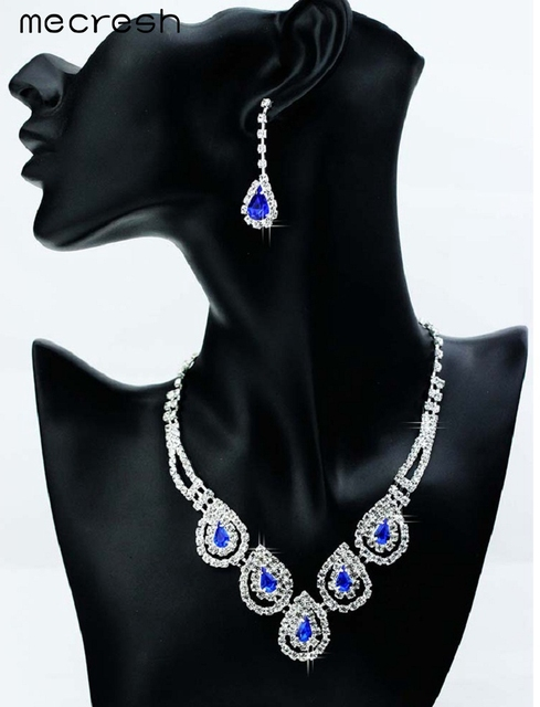 Mecresh Green/ Blue Crystal Water Drop Wedding Bridal Jewelry Sets African Jewelry Sets Earrings Necklace Sets for Women TL008