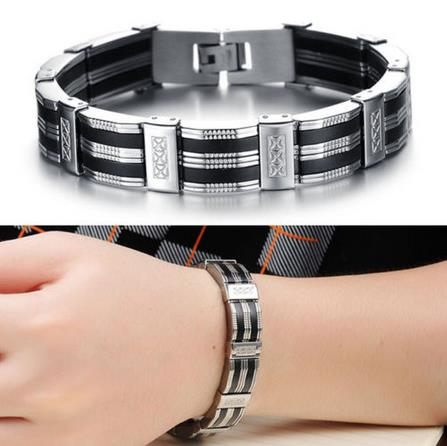 buy popular 74d2b 31c89 Luxury Black Best Friends Bangles Made Of Silicone Mix Stainless Steel  Bracelet Men Classic Man Bracelets Fashion Male Jewelry