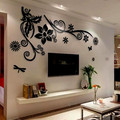 3d crystal three-dimensional wall stickers acrylic wall stickers sofa tv wall flower vine mirror home accessories