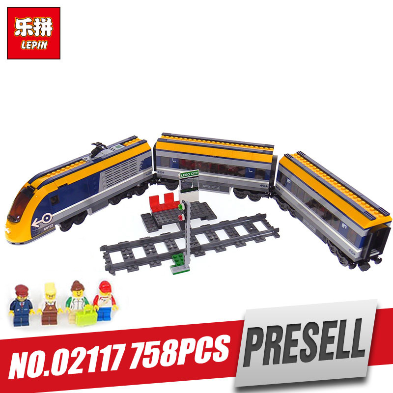 цены Lepin 02117 City Series The Legoingly 60197 Passenger Train Set Building Blocks Bricks Car Model Kids Toys New Christmas Gifts