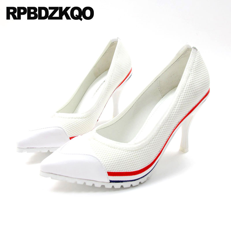 Pumps European Mesh Runway Catwalk High Heels Genuine Leather Casual Celebrity Brand 8cm Pointed Toe White Thin Women 2018 Shoes
