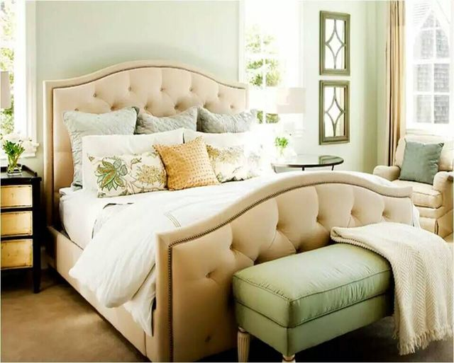diamond tufted rivet high headboard modern fabric sleeping soft bed King size bedroom furniture Made in China