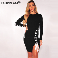 TAUPIN AM Lace Up Woman Party Dresses Elegant Evening Sexy Club Dresses Black Long Sleeve Bodycon
