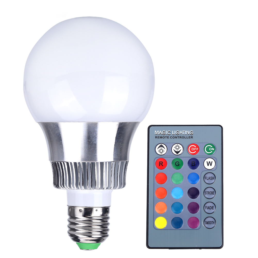3w e27 rgb led light lamp bulb spotlight 16 colors to ktv bar stage club restaurant display. Black Bedroom Furniture Sets. Home Design Ideas