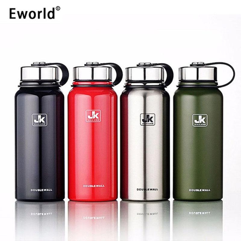 Eworld баспайтын болаттан оқшауланған термосты бөтелкесі Vacuum Flask Large Capacity Thermoses Thermal Coffe Garafa Termica Sport Termos