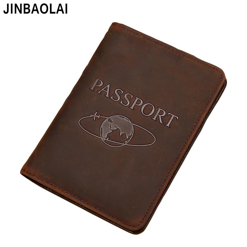 Passport Holder Vintage Natural Crazy Horse Leather RFID Blocking Passport Cover Unisex Genuine Leather Passport Protective Case