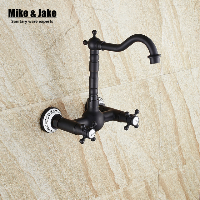 Double handle wall mounted Black faucet bathroom sink faucet tap ...