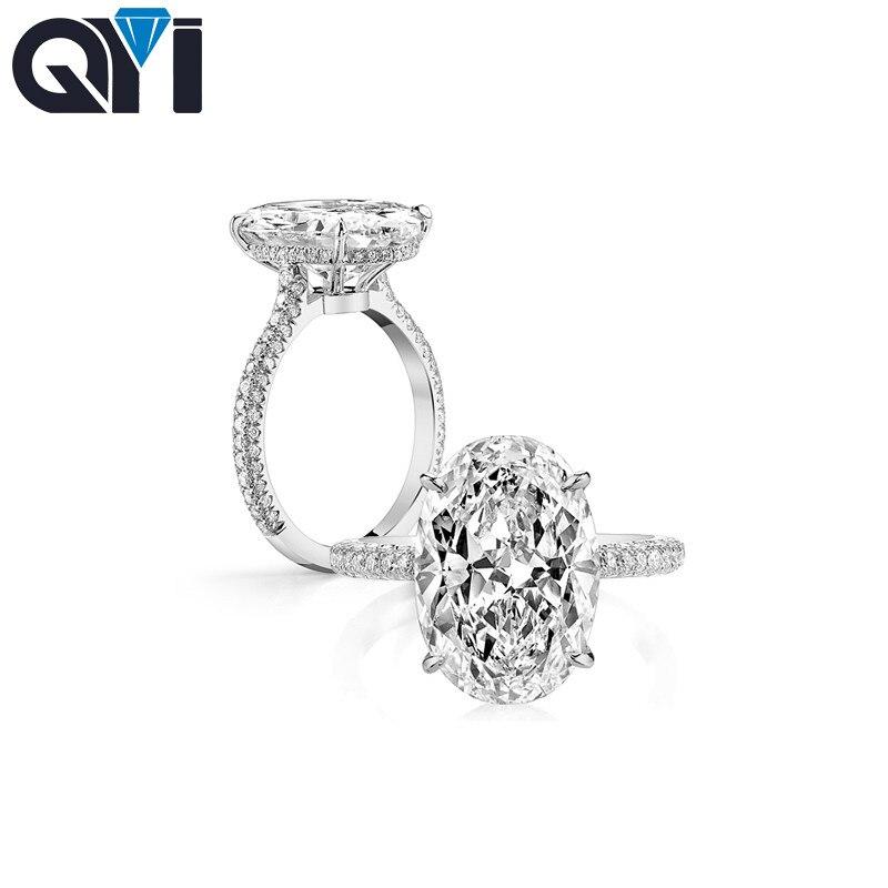 QYI Classique Bagues de Fiançailles 925 Sterling Argent 3 ct Ovale Cut Sona Simulé Diamant Dame De Mariée Anneau Bijoux Cadeaux