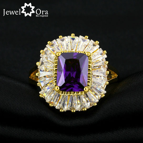 Colorful Party Jewelry AAA Cubic Zirconia Rings For Womens Gold Color Exaggerated Ring Accessories Best Gifts(JewelOra RI101288)