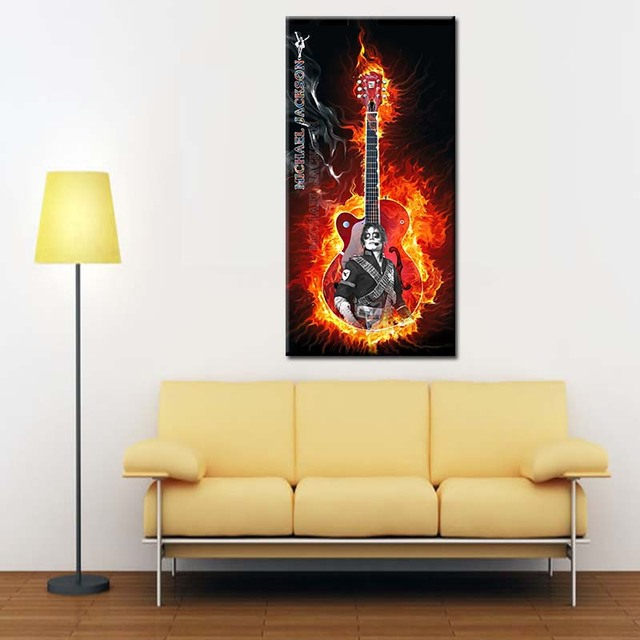 Crazy guitar Canvas Printings wall art home waterproof Ink spray ...