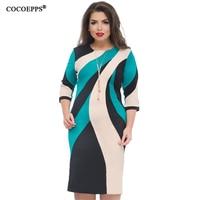 COCOEPPS 2018 Big Size Fashion Patchwork Dress Elegant Plus Size Bodycon Dresses Large Size Ladies Office